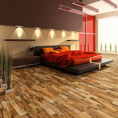 The engineered hardwood flooring provides added stability and low maintenance.