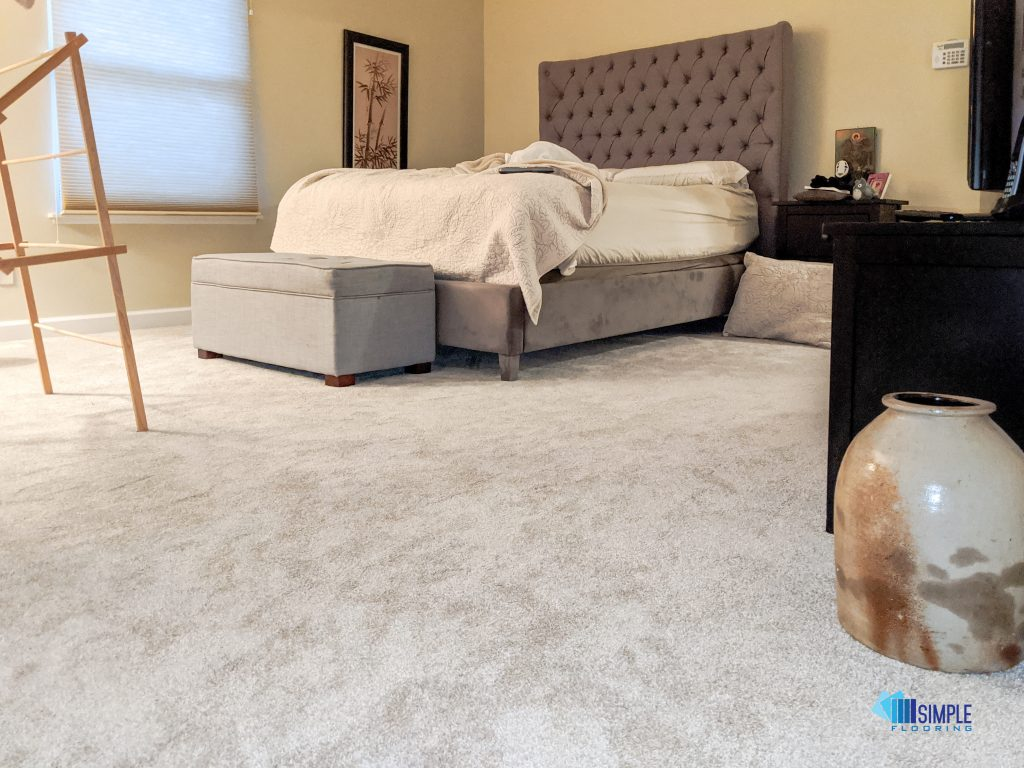 Plush carpet in the bedroom. Simple Flooring Company