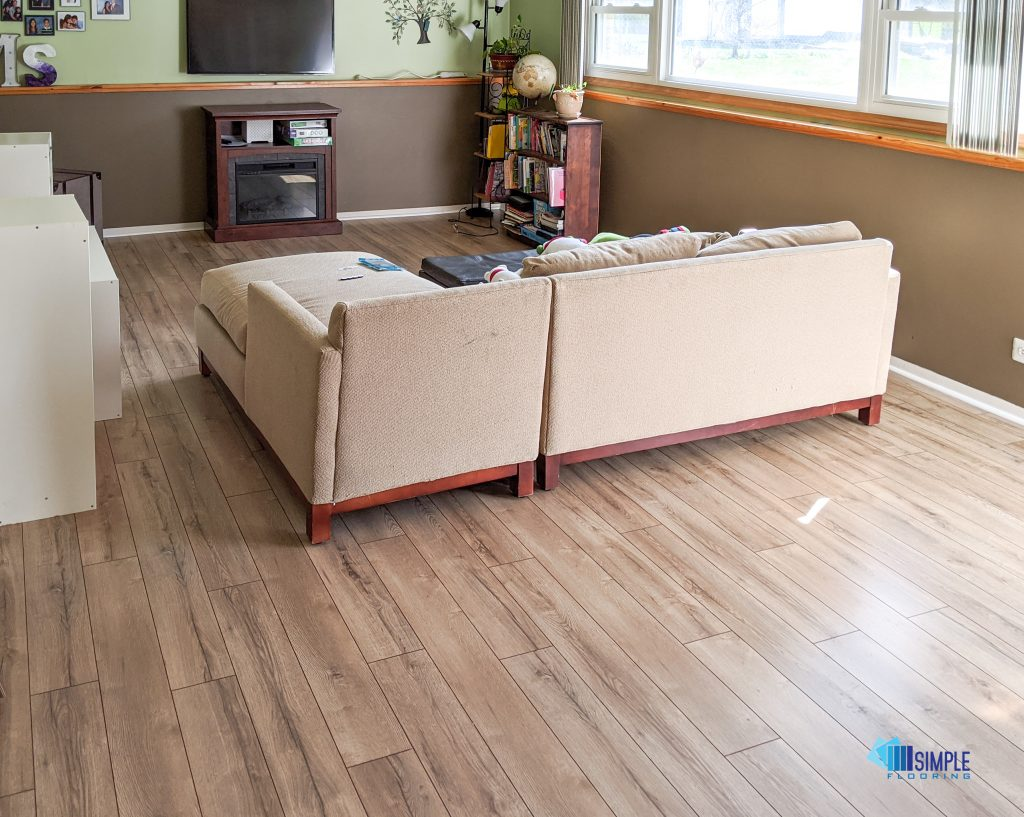 Simple and classy laminate for living room at Simple Flooring company.