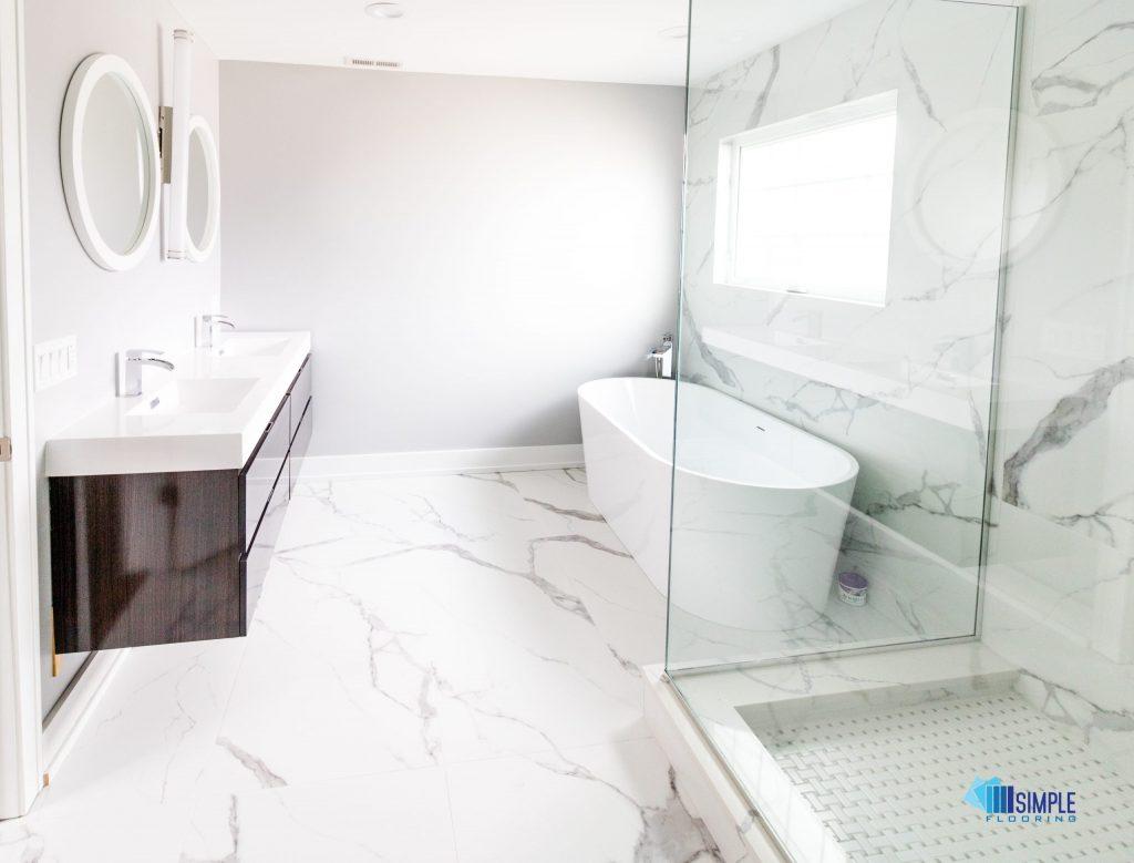 Ceramic bathroom makeover at Simple Flooring Company