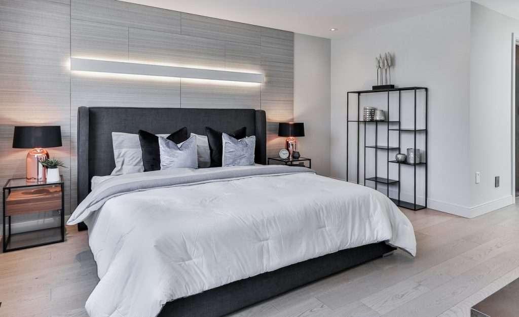 gray flooring laminate bedroom